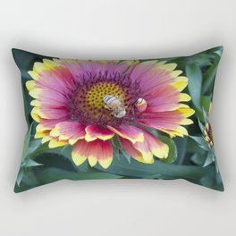 Red Sunflower with working Bee Rectangular Pillow