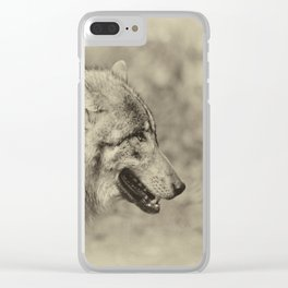 lonesome wolf Clear iPhone Case
