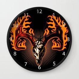 Deer skull on fire Wall Clock