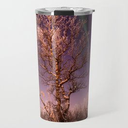 Green northern lights with tree in the middle over the Kiruna town in Sweden. Travel Mug