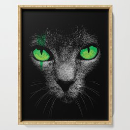 Black Cat with Green Eyes Serving Tray