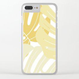 Pastel yellow monstera deliciosa Clear iPhone Case