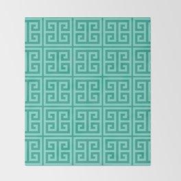 Mermaid Blue Greek Key Pattern Throw Blanket