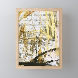 Armor [11]: a bold, elegant abstract mixed media piece in gold pink black and white Framed Mini Art Print