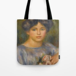 """Auguste Renoir """"Jeune fille aux roses (Young girl with flowers)"""" Tote Bag"""