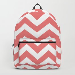 Light coral - pink color -  Zigzag Chevron Pattern Backpack