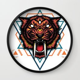 Saber tooth sacred geometry Wall Clock