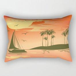 Tropical Sunset over the Sea Rectangular Pillow