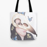 crow Tote Bags featuring Crow by Drawings by LAM