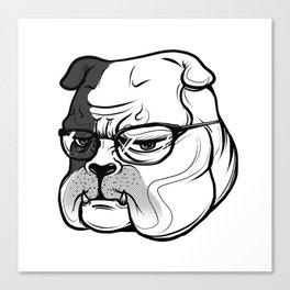 pitbull with glasses Canvas Print