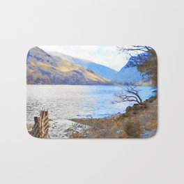 Little Tree at Buttermere, Lake District UK Watercolour Painting Bath Mat