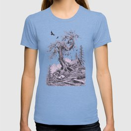 BLUE RIDGE OAK AND MY FANTASY CABIN ON THE HILL T-shirt