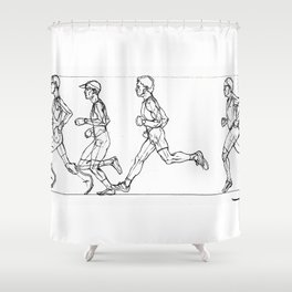 Transition through Triathlon Runners A Shower Curtain