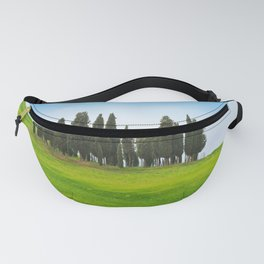 Beautiful spring minimalistic landscape with Italian Cypress on the green hills in Tuscany countrysi Fanny Pack