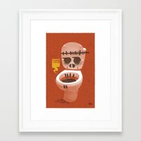 toilet Framed Art Prints featuring Toilet Bowl by YONIL