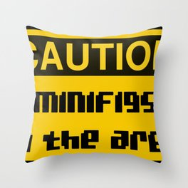 CAUTION MINIFIGS IN THE AREA by Chillee Wilson [from Customize My Minifig] Throw Pillow