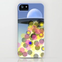 ALIEN UFO WITH BALL LIGHT BLUE YELLOW AND PINK DIGITAL ART iPhone Case
