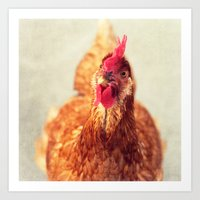 chicken Art Prints featuring chicken by Beverly LeFevre