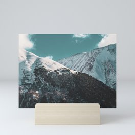 Snowy Mountains Under Teal Sky - Alaska Mini Art Print