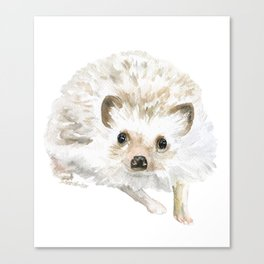 Watercolor Hedgehog Painting - Woodland Animal Art Canvas Print