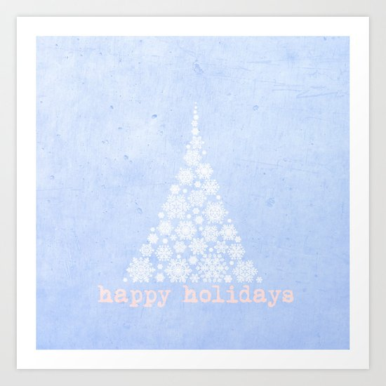 Blue Happy Holidays Christmas Design Art Print