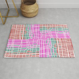 Red, Teal, Pink Vein and Stripe Patterns Rug