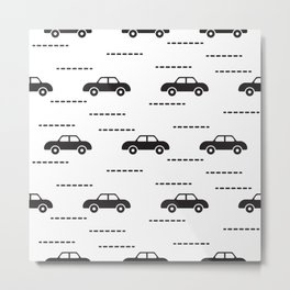 Black automobile road pattern Metal Print