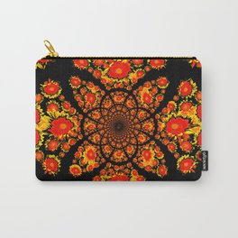 Abstracted Yellow-red Stylized Sunflowers Geometric Pattern Carry-All Pouch
