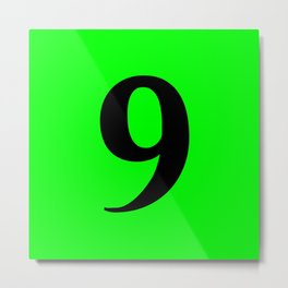 9 (BLACK & LIME NUMBERS) Metal Print
