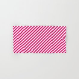 Mini Hot Neon Pink and White Candy Cane Stripes Hand & Bath Towel