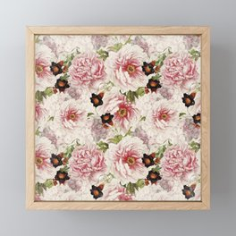 Small Vintage Peony and Ipomea Pattern - Smelling Dreams Framed Mini Art Print