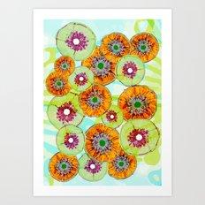 Floating Flower Pods Art Print