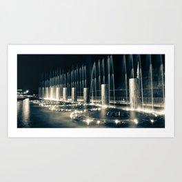 Branson Landing Fountains - Panoramic Sepia Edition Art Print