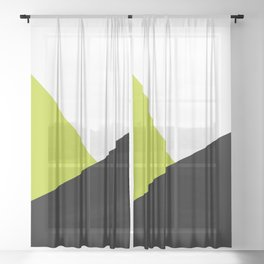 Trichromatic Black White Lime Color Block Sheer Curtain