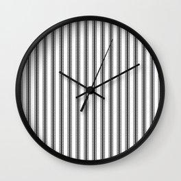 Black and White French Fleur de Lis in Mattress Ticking Stripe Wall Clock
