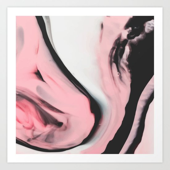 Modern pink marble and black Art Print