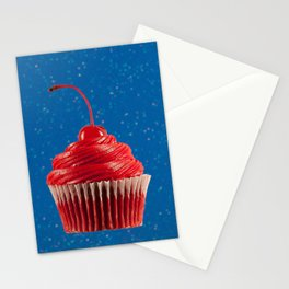 Cupcake Love | Red on Blue Sparkle Stationery Cards