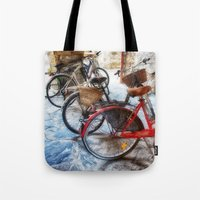 bicycles Tote Bags featuring Bicycles by Elliott's Location Photography