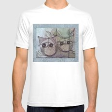 Owl couple MEDIUM White Mens Fitted Tee