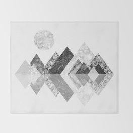 Geometrical mountains in black and white - Scandinavian art Throw Blanket