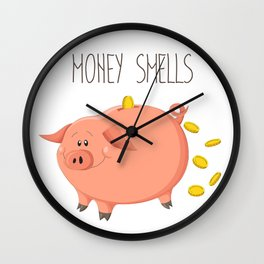 Money smells - Art print with piggy bank Wall Clock