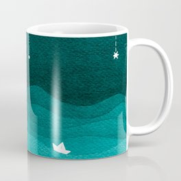 Falling stars, sailboat, teal, ocean Coffee Mug