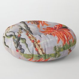 Flowering Red Coral Tree Tropical Flowers still life painting Floor Pillow