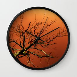 Red Branches of Crimson Dream Surreal Tree Art Wall Clock