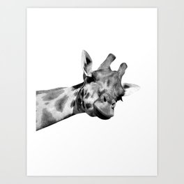 Black and white giraffe Art Print