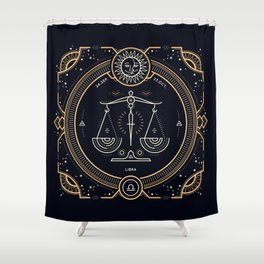 Libra Zodiac Golden White on Black Background Shower Curtain