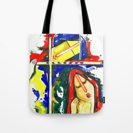 Lord Krishna & Radha - Handmade Water Color Artwork Tote Bag