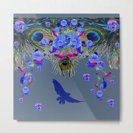 BLUE  NATURE FLORAL FANTASY DREAMS Metal Print