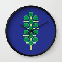 brussels Wall Clocks featuring Vegetable: Brussels Sprout Blue by Christopher Dina