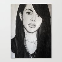 aaliyah Canvas Prints featuring AALIYAH by alittleart